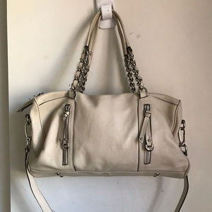 B. Makowsky Cream Leather Shoulder Bag